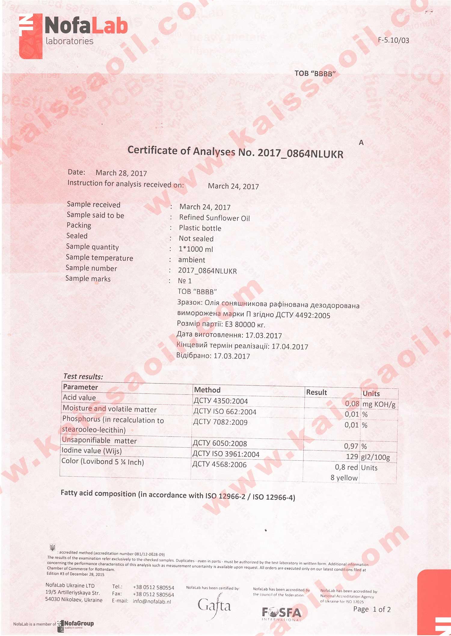 Сертификат анализа NO2017