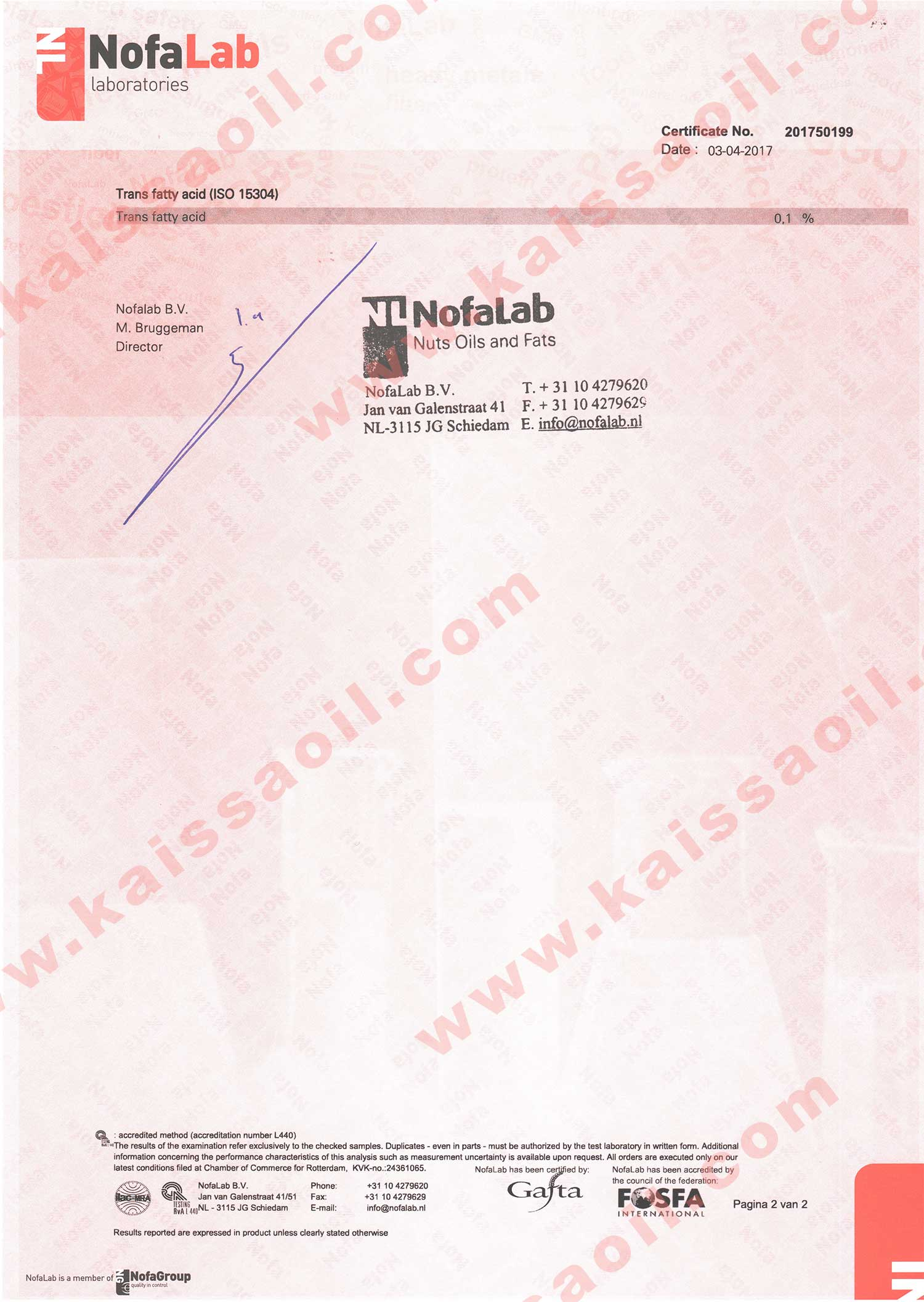 Certificate ISO15304 P2