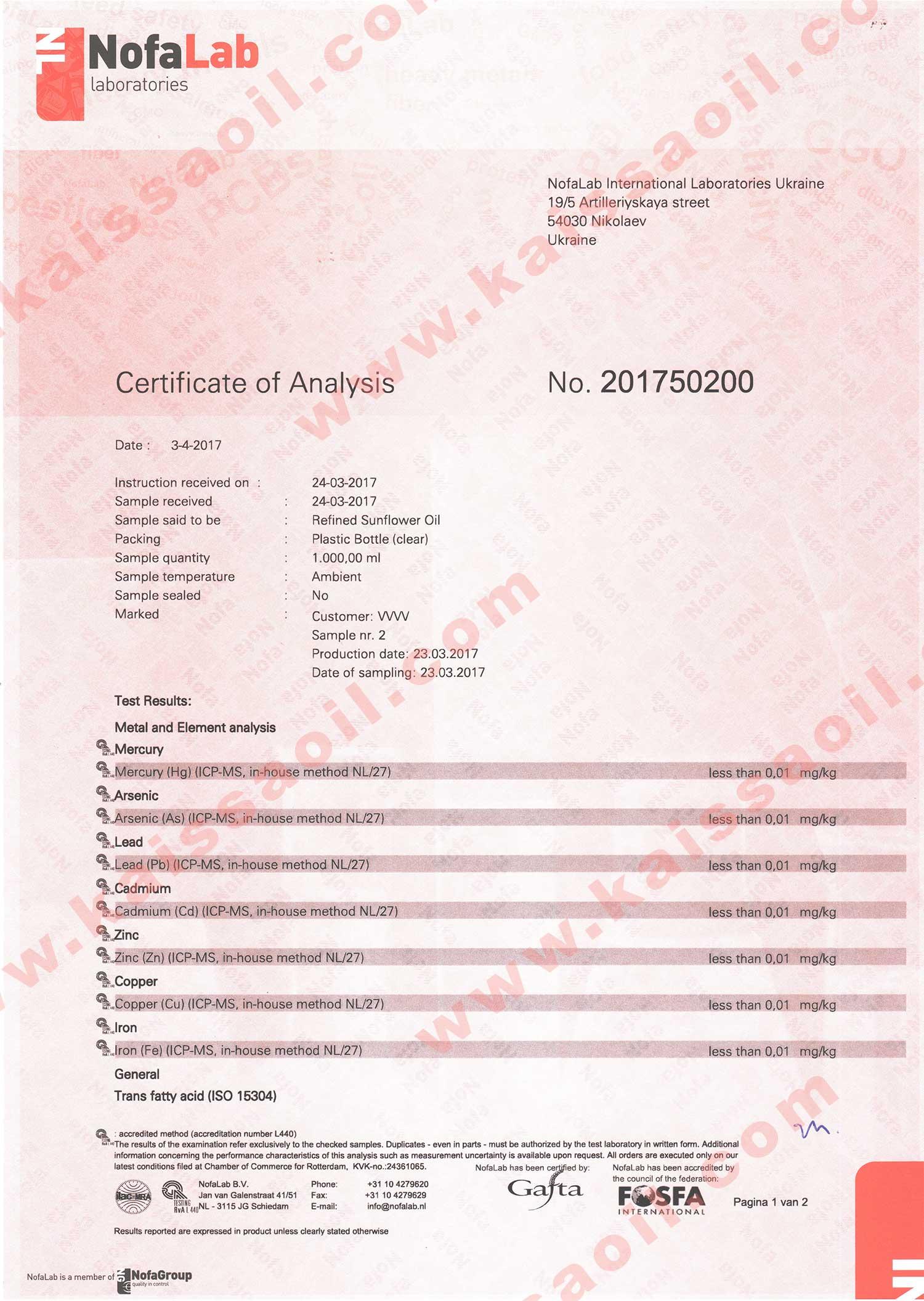 Certificate ISO15304 v2